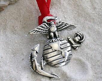 Pewter Marine Corps Emblem USMC Semper Fi Christmas Ornament and Holiday Decoration (38E)