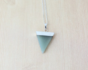 Silver Dipped Aventurine Geometric Necklace