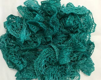 Turquoise Variegated Decorative Ruffle Scarf