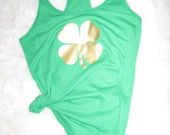 Shamrock womens tank top - XS-XXL st. patrick's day choose your color 4 leaf clover lucky gold metallic