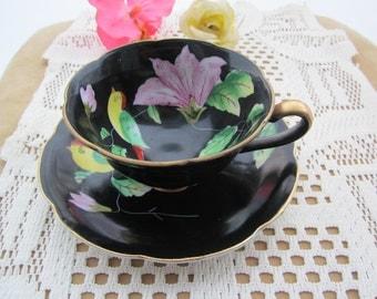 10% Discount! Chugai China Bird & Magnolia Handpainted black TEACUP w. saucer w. gold trim. Occupied Japan.Rare!