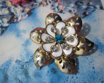 15% DISCOUNT! Splendid floral shape w. enamel & rhinestones vintage brooch signed CORO