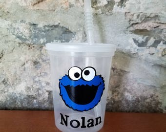 5 Personalized Cookie Monster Cups-Clear Cups with Lid and Straw-Birthday Cups-Personalized Cups