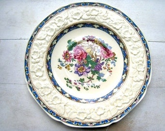 Crown Ducal Gainsborough England Vintage Plate/Saucer Vibrant Floral Pattern Raised Textured Pattern Replacement China 1930's Decor Antique