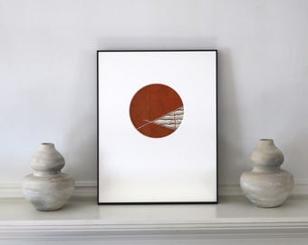 1930s-40s Orange Textile Design Woodblock Print Tokyo Framed 11 x 14 inches