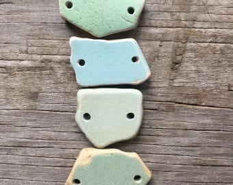 Links, Connectors, Double Drilled, Vintage Sea Pottery, Jewelry Supplies, Beach, Seafoam, Blue, Sew On Linen Pillow Case