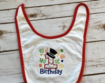 Custom birthday bib, 1st birthday bib, first birthday boy bib, first birthday cake smash, 1st birthday photo prop, personalized bib