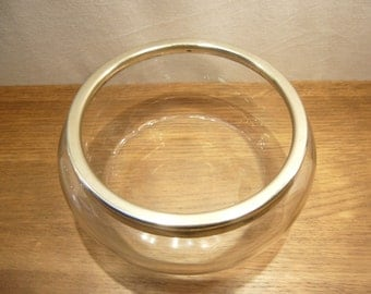 Antique 1900s glass fruit bowl with metal rim by Israel Sigmond Greenberg & Co of Birmingham
