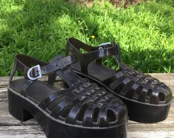 Vintage 1990s Platform Jelly Sandals Woman's Size 6 / 36
