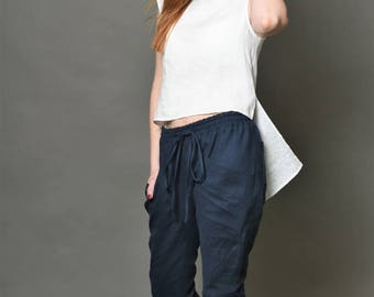 Linen top/ linen blouse/Linen shirt/white linen/linen/zipper/ handmade to order/ bengidesign.