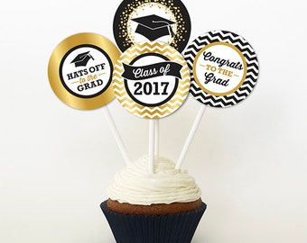 Graduation Cupcake Toppers, PRINTABLE, Black and Gold Tones, 2 or 2.25 Inch, Graduation Favor Tags, 2017