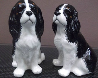 Cavalier King Charles Spaniel Salt and Pepper Pots Tri Cavalier Cruet Set