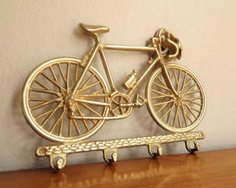 Vintage Brass Bicycle Key Rack, Bike Key Holder, Schwinn 10 Speed, Key Hanger, 1970's, Brass Figurines