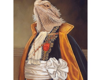 Bearded Dragon, Bearded Dragon in Clothes, Oil Painting, Bearded Dragon In Costume