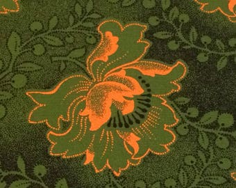 Shweshwe Fabric--African Fabric--South African Cotton Fabric--Da Gama Three Cats--Ethnic--Olive & Gold Hibiscus--Fabric by the HALF YARD