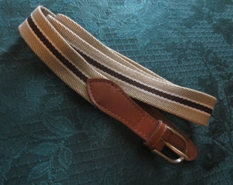 Tan Striped Stretch Belt