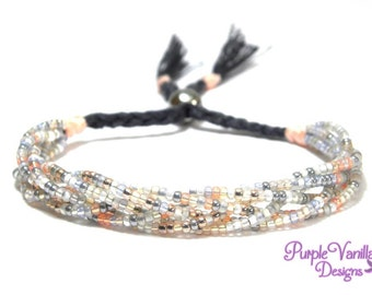 Grey White Rose Braided Seed Beads Bracelet, Beaded Bracelet with Multicolour Glass Beads & Stainless Steel Bead