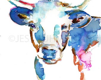 Longhorn Watercolor Print, Animal Watercolor, Cow Painting, Print of Cow Painting, Farm Animal Art, Nursery Animal Art, Cow Illustration