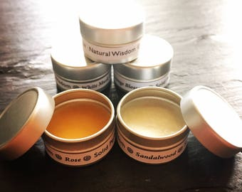 Solid Perfume SAMPLE by Natural Wisdom. Vegan, Natural, Alcohol free. No synthetic ingredients.