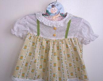 VTG Baby Girl Dress Top Yellow Sunflowers Sz 6-12M