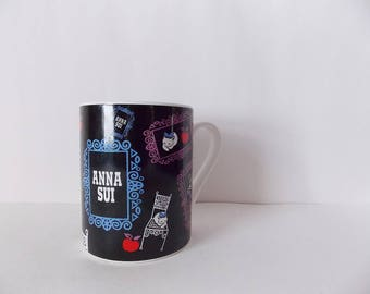 Vintage Anna Sui Mug Cute 90's Cup with Cats and Picture Frames