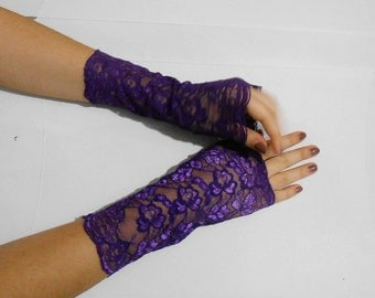 Purple Lace fingerless gloves, Plum Wedding Gloves lace armarmers, Purple Lace Cuffs