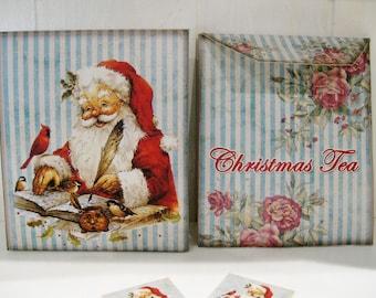 Tea Bag Envelopes - Christmas- Santa Claus - Qty of 6 Envelopes