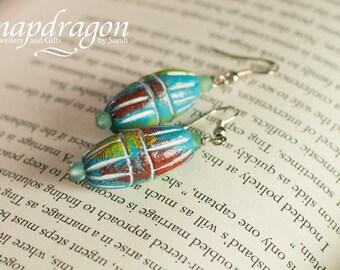 African clay bead earrings.