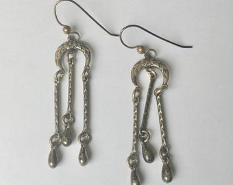 detailed dangly sterling earrings