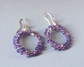 Amethyst Earrings, Sterling Silver Hoops, Bead Earrings, Wire Wrapped, Gemstone Earrings, Purple Bead Earrings, Handcrafted Bead Jewelry
