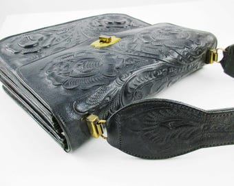 Vintage Black 'Flores' Purse - Hand-tooled Leather Purse - Made in Mexico - Single Strap - Brass Clasp - Five Pockets - Original Tag