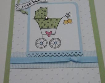 Blue and Green Baby Buggy card