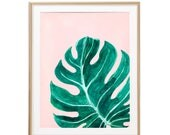 Monstera Leaf Decor, Watercolor Plant Wall Art Palm Frond Art Swiss Cheese Plant Botanical Poster Palm Springs Print, Monstera Deliciosa Art