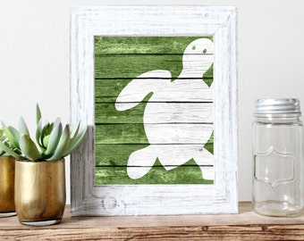 Sea Turtle Art Print - Rustic Nautical Nursery Art Coastal Decor, Beach Bathroom Art, Nautical Bedroom Wall Art, Sea life Art, Ocean Decor