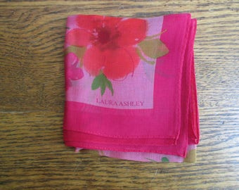 Vintage Laura Ashley Hot Pink and Red Flowered Scarf