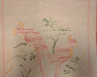 Vintage Linen Cross Stitch Runner - Pink Tropical Birds, Trees, Croched Edge