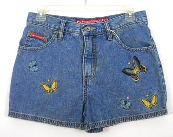 Vintage 80s High Waist Denim Shorts with Butterfly Appliques // Size 7/8