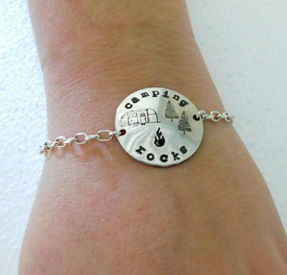 Sterling silver camping rocks bracelet, camper jewelry, free spirit jewelry, hand stamped bracelet