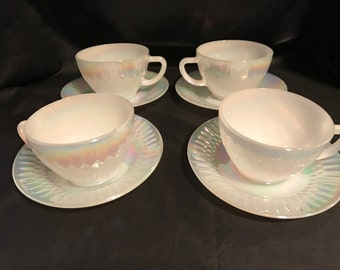 Federal Moon Glow Diamond Point Cups and Saucers 4-pc Set