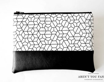 Cosmetic Bag, Clutch, Make-up Bag, Pouch, Geometric, Modern, Cotton and Faux Leather by Aren't You Fancy!