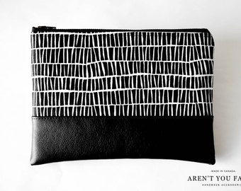 Cosmetic Bag, Clutch, Make-up Bag, Pouch, Black and White, Modern, Cotton and Faux Leather by Aren't You Fancy!