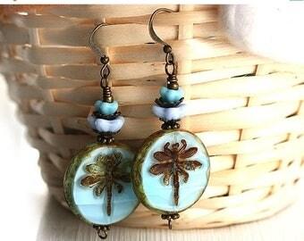 50%off SALE Blue Dragonfly earrings, Beaded Glass Earrings, Dragonfly Jewelry, Blue Flower Earrings, Woodland Earrings, Beadwork Earrings