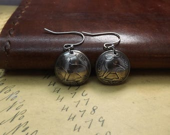 Genuine Domed 1966 Irish 3d Three Pence Hare Drop Earrings on Stainless Steel Ear Wires, Coin Jewellery