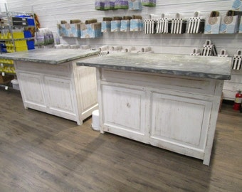 A pair of store counters custom made from reclaimed wood in the USA