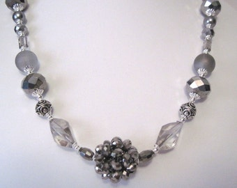 silver and grey necklace.  handmade necklace