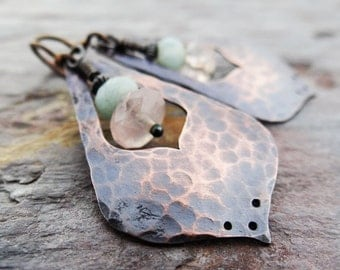 Copper Lotus Petal Earrings || hammered copper drops with pink rose quartz and blue-green amazonite on hypoallergenic ear wires (4205)