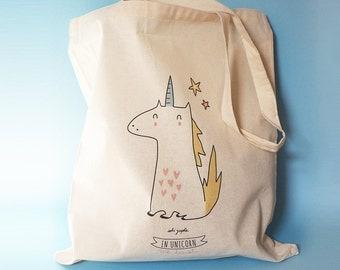 """Tote Bag """"In Unicorn we trust"""" YELLOW"""
