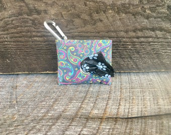 Grey Paisley poop bag pouch