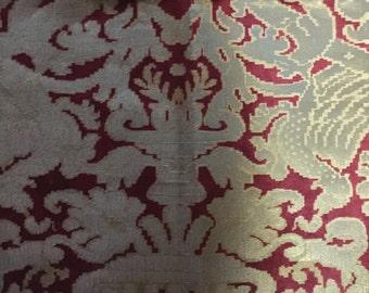 Ralph Lauren cut velvet Damask fabric Warfield Balmoral red gold