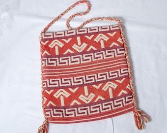 Vintage Women's Greek Peasant Purse - Brown, Orange, Creme - Woven Tourist Souvenir Purse - Travel Tote - Hippie Bag - Boho Purse